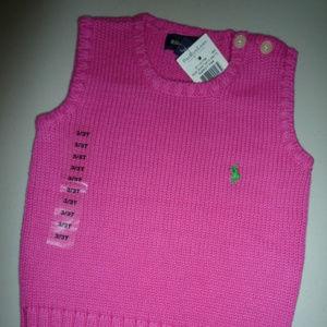 Ralph Lauren Pink Pullover Sweater, Girls sz 3/3T